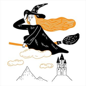 La jeune sorcière chevauche un balai magique à travers la colline du château au-dessus des nuages.