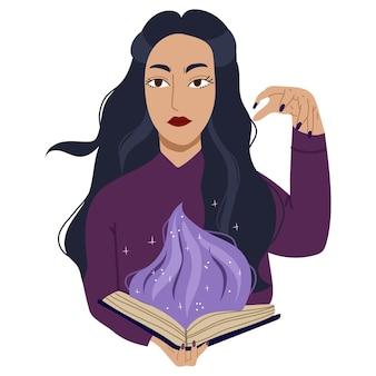 Jeune sorcière jette un sort. caractère ésotérique et mystique. illustration vectorielle dessinée à la main.