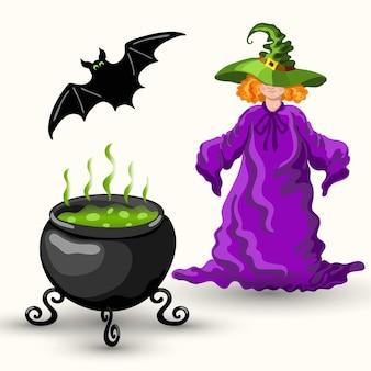 Jeune sorcière de style dessin animé dans le chapeau vert magique, la chauve-souris et le chaudron avec du poison bouillant isolé sur fond blanc