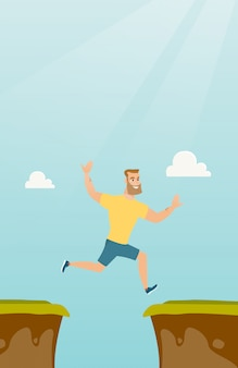 Jeune sportif caucasien sautant par-dessus la falaise