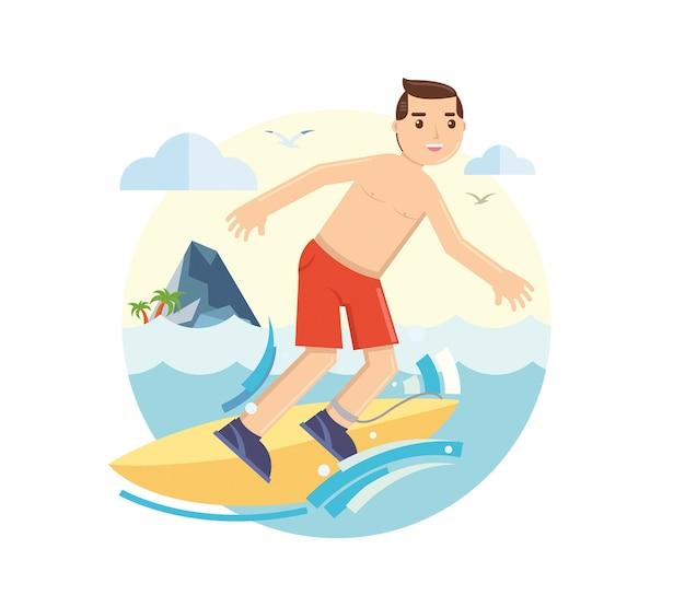 Jeune surfeur chevauchant sa planche sur les vagues