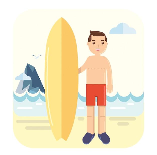 Jeune surfeur pose à côté de sa planche de surf