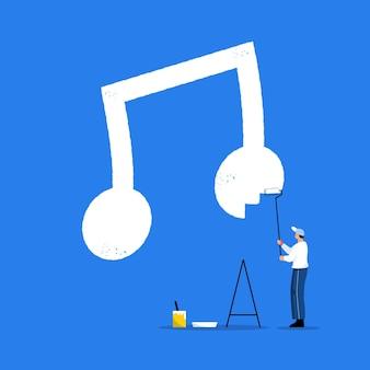 Jeune travailleur peignant une grosse note de musique sur un mur au design plat