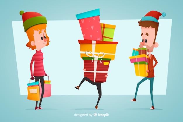 Jeunes achetant des cadeaux de noël