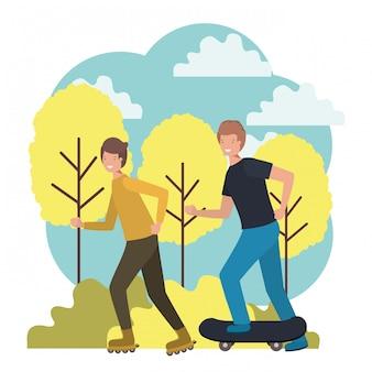 Jeunes adolescents pratiquant des personnages sportifs