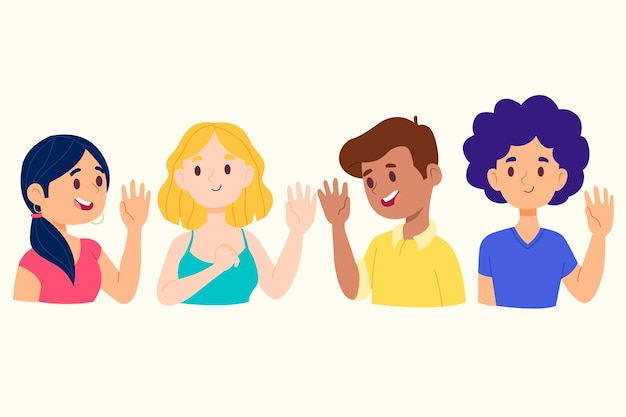 Jeunes agitant la main