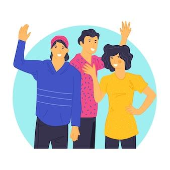 Jeunes amis, agitant la main