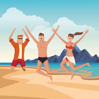Jeunes amis et dessins animés de l'été