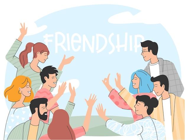 Jeunes amis ensemble.
