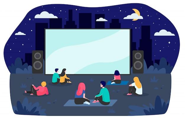 Jeunes amis, reposer, arrière-cour, regarder, film