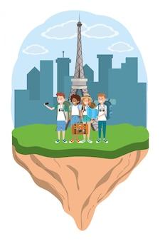 Jeunes amis touristes