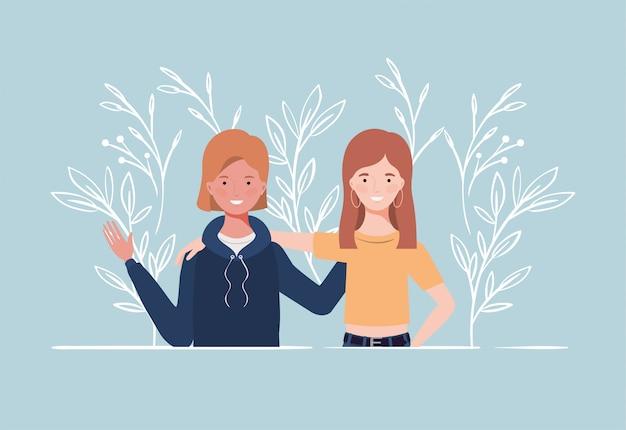 Jeunes et belles filles couple personnages
