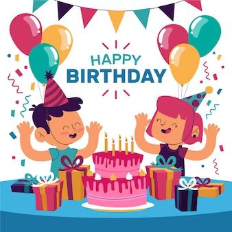 Jeunes célébrant la fête d'anniversaire