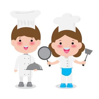 Jeunes chefs professionnels, illustration mignon chefs culinaires isolé sur blanc