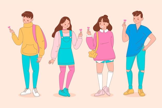 Jeunes Coréens Faisant Coeur Doigt Vecteur gratuit