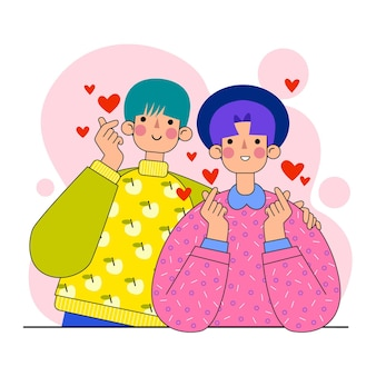 Les jeunes coréens faisant coeur doigt
