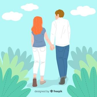 Jeunes couples adultes marchant ensemble