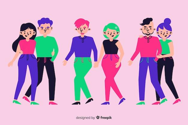 Jeunes couples marchant concept pour illustration