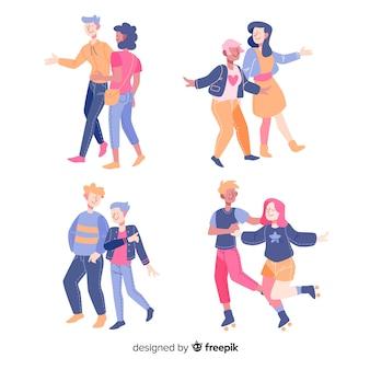 Jeunes couples marchant ensemble design plat