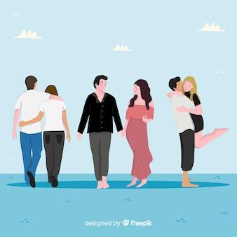 Jeunes couples marchant ensemble