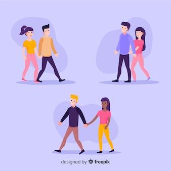 Jeunes couples romantiques marchant ensemble