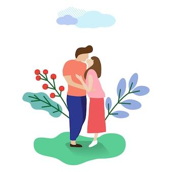 Jeunes couples s'embrasser des personnages de dessins animés plats.