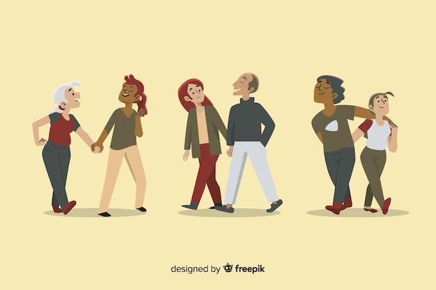 Jeunes couples se promenant
