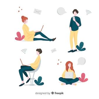 Jeunes dessinés à la main à l'aide d'un pack d'appareils technologiques