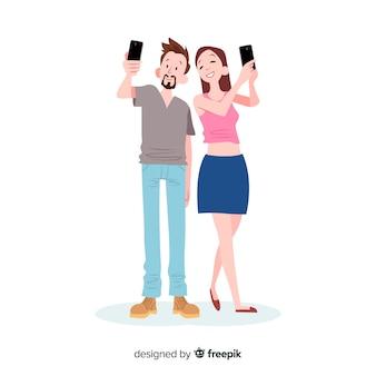 Jeunes dessinés à la main à l'aide de smartphone
