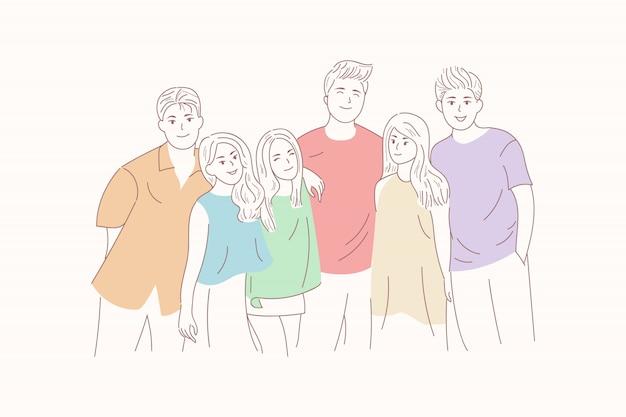 Jeunes dessinés à la main, étreignant ensemble