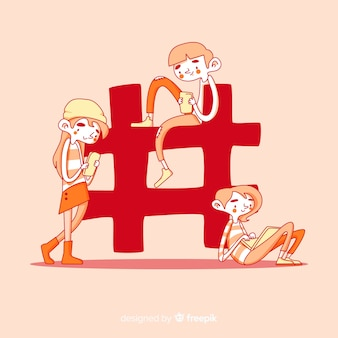 Jeunes dessinés à la main avec le symbole hashtag