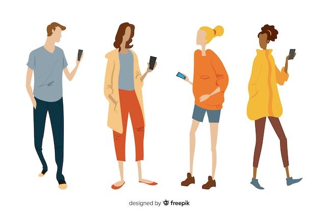 Jeunes dessinés à la main tenant des smartphones