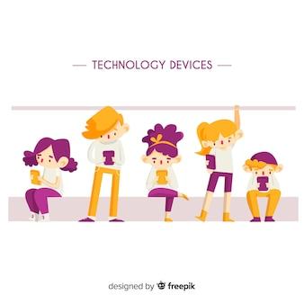 Jeunes dessinés à la main utilisant des appareils technologiques dans les transports en commun