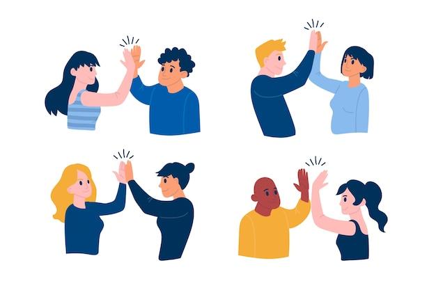 Les jeunes donnant un high five illustré