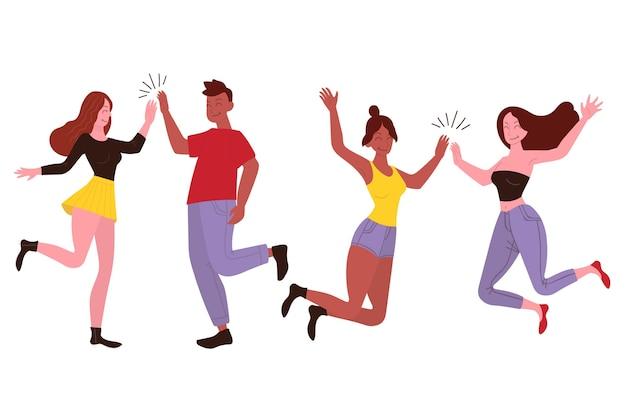 Jeunes, donner, élevé, cinq, illustration