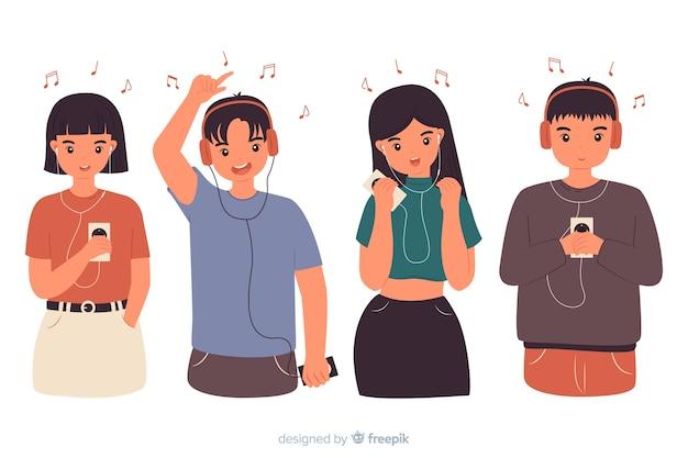 Jeunes écoutant de la musique