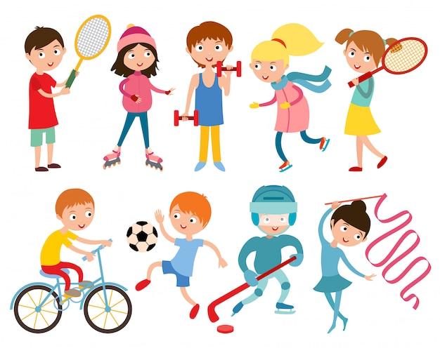 Jeunes enfants sportifs isolés