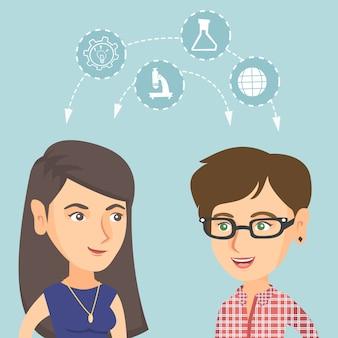 Jeunes étudiants caucasiens partageant avec les idées.