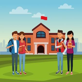 Jeunes étudiants dans un lycée