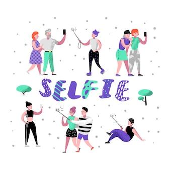 Jeunes faisant selfie avec smartphone