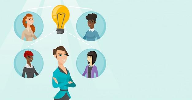 Jeunes femmes d'affaires discutant des idées créatives.