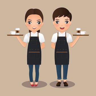 Jeunes femmes barista et homme en tablier souriant tenant une tasse de café. personnage de dessin animé mignon.