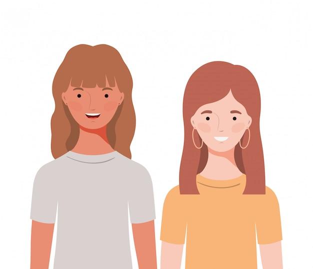 Jeunes femmes sur blanc