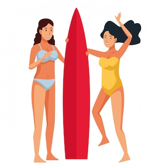 Jeunes femmes dans les dessins animés de l'été