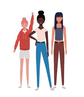 Jeunes femmes debout sur le blanc