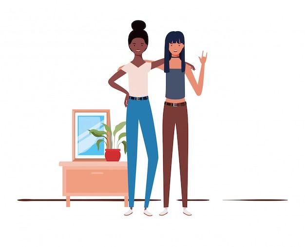 Jeunes femmes debout