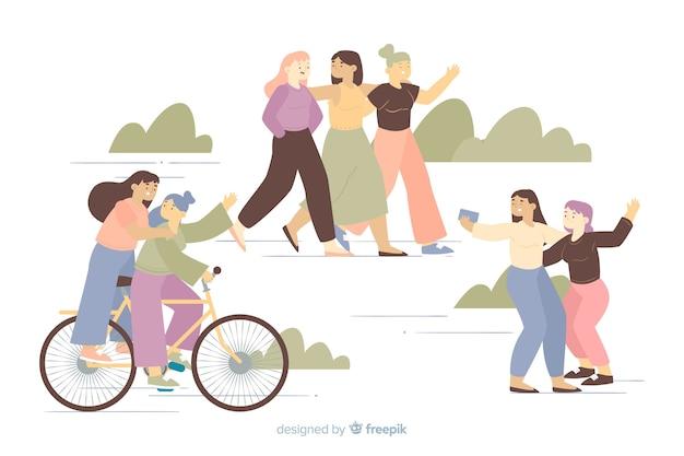 Jeunes femmes faisant des activités amusantes passent du temps ensemble