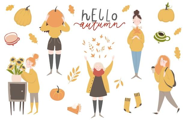Jeunes femmes ou filles vêtues de vêtements confortables collection d'autocollants d'automne