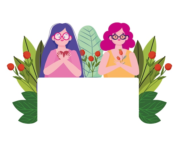 Jeunes femmes avec des fleurs portrait personnage de dessin animé illustration d'amour de soi