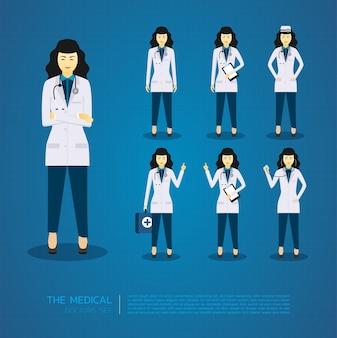 Les jeunes femmes médecins ont toutes les caractéristiques du design.